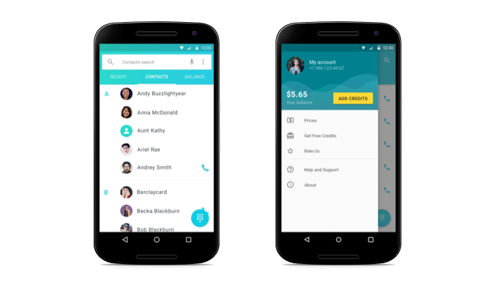 yolla redesign for android contact list and dashboard screens