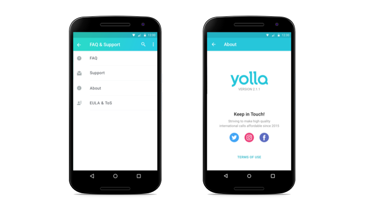 Yolla Calls faq and about screens - updated on Android