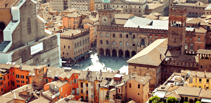 view of Bologna city center from above