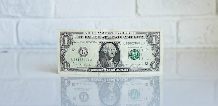 one dollar banknote - low on cash
